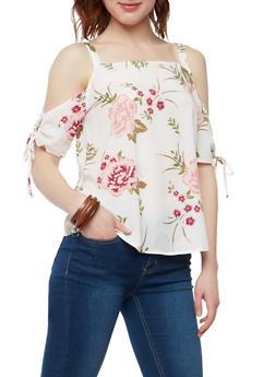 Floral Crepe Knit Cold Shoulder Top - 1001051069804