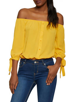Tie Sleeve Off the Shoulder Crepe Knit Top - 1001054260737