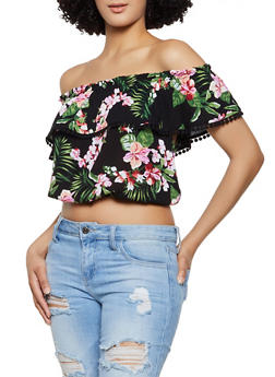 Tropical Floral Off the Shoulder Crop Top - 1001054260752