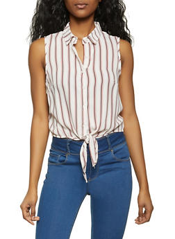 Striped Sleeveless Button Front Top - 1001054260756