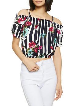 Striped Floral Cold Shoulder Crop Top - 1001054260791