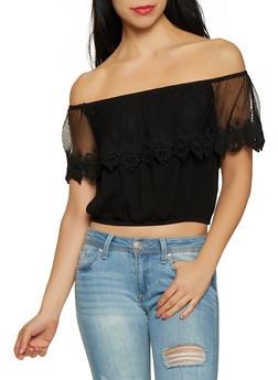 Crochet Overlay Off the Shoulder Crop Top - 1001054260868