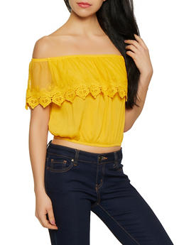 Crochet Overlay Off the Shoulder Crop Top - 1001054260868