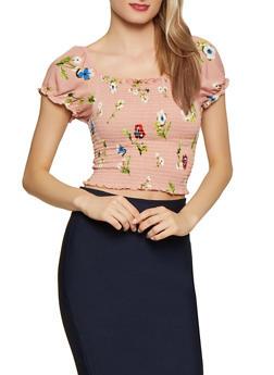 Smocked Floral Crop Top - 1001054260890