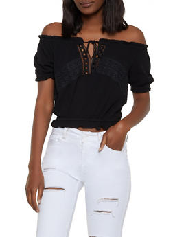 Crochet Detail Gauze Knit Off the Shoulder Top - 1001054260957