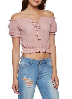 Crochet Detail Gauze Knit Off the Shoulder Top - 1001054260957