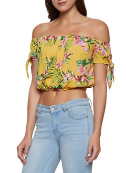 Tie Sleeve Off the Shoulder Floral Top - 1001054260986