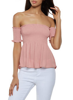 Smocked Off the Shoulder Babydoll Top - 1001054261047