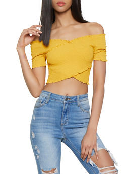 Criss Cross Off the Shoulder Crop Top - 1001054261048