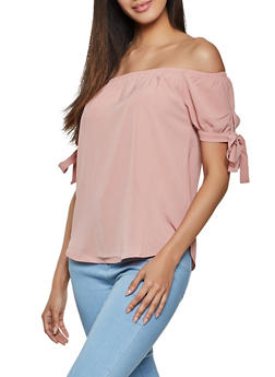 Tie Sleeve Crepe Knit Off the Shoulder Top - 1001054261152
