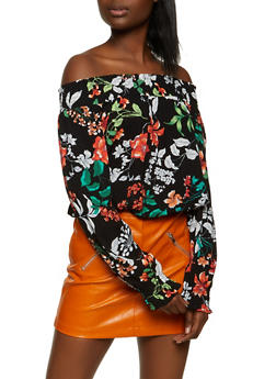 Floral Smocked Trim Off the Shoulder Top - 1001054261273