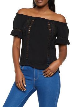 Crochet Insert Off the Shoulder Top - 1001054262077