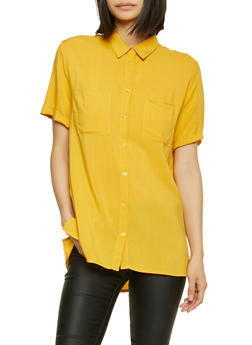 Two Pocket Short Sleeve Button Front Shirt - 1001054262468