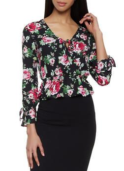 Floral Faux Wrap Tie Neck Blouse - 1001054265947