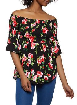 Floral Smocked Off the Shoulder Babydoll Top - 1001054265948