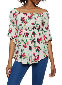 Floral Smocked Off the Shoulder Babydoll Top - 1001054265948