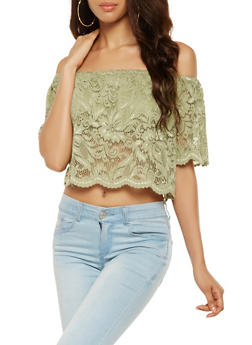 Lace Off the Shoulder Crop Top - 1001054266923