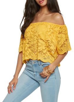 Lace Off the Shoulder Crop Top - 1001054266923