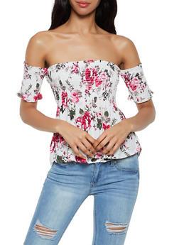 Smocked Off the Shoulder Floral Babydoll Top - 1001054267581