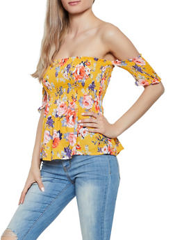 Smocked Off the Shoulder Floral Babydoll Top - 1001054267581