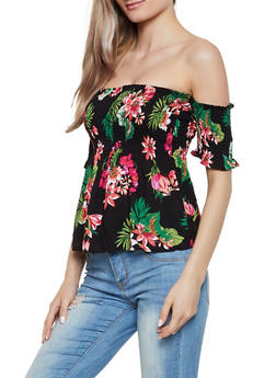 Smocked Ruffle Floral Off the Shoulder Top - 1001054267582