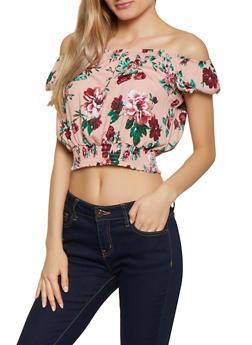 Off the Shoulder Floral Smocked Waist Top - 1001054268871