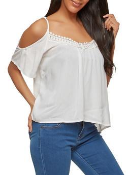 Lace Trim Cold Shoulder Top - 1001054269233
