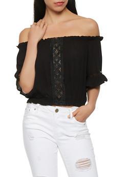 Off the Shoulder Crochet Insert Crop Top - 1001054269237