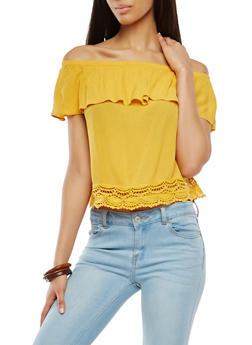 Crochet Trim Off the Shoulder Top - 1001054269474