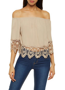 Gauze Knit Off the Shoulder Top - 1001054269865