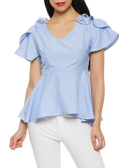 Striped Peplum Top - 1001058750071