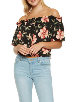 Floral Off the Shoulder Crop Top - 1001058750277