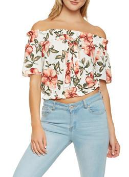 Floral Off the Shoulder Crop Top - 1001058750277