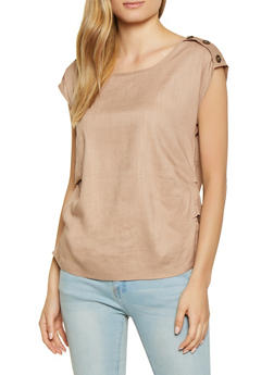 Linen Button Detail Top - 1001058750320