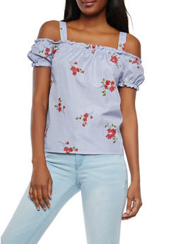 Striped Floral Off the Shoulder Top - 1001058750342
