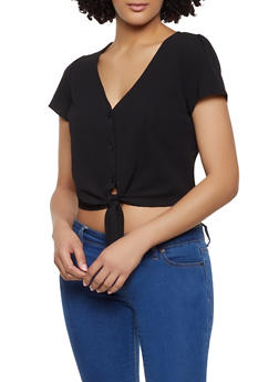 Crepe Knit Button Tie Front Top - 1001058750387