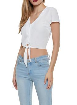 Crepe Knit Button Tie Front Top - 1001058750387