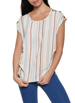 Striped Faux Button Top - 1001058750409
