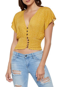 Polka Dot Smocked Waist Top - 1001058750518