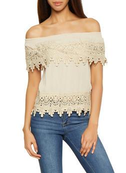 Crochet Trim Off the Shoulder Top - 1001058750523