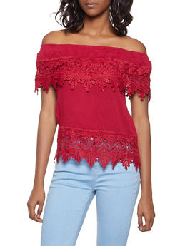 Crochet Trim Off the Shoulder Top - 1001058750523