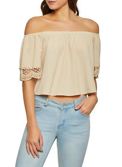 f2c9ffe66a17e1 Crochet Trim Sleeve Off the Shoulder Top - 1001058750549
