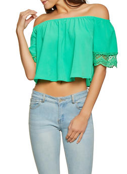 a2f292db1dac5b Crochet Trim Sleeve Off the Shoulder Top - 1001058750549