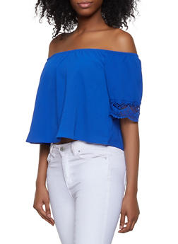 Crochet Trim Sleeve Off the Shoulder Top - 1001058750549