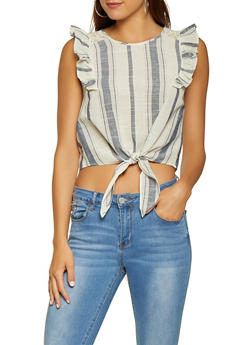 Striped Linen Tie Front Top - 1001058750578