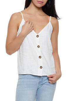 Linen Button Front Cami - 1001058750582