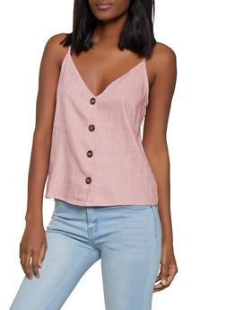 Linen Button Front Cami - 1001058750582