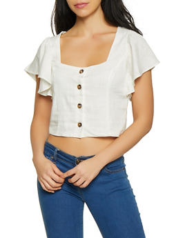 Cropped Linen Button Front Top - 1001058750589