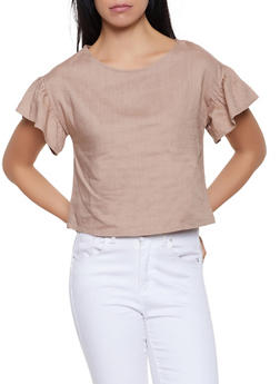 Flutter Sleeve Linen Top - 1001058750597