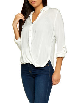 Drape Button Front Shirt - 1001058750685